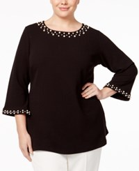 Charter Club Plus Size Pearl Beaded Tunic Only At Macy's Deep Black
