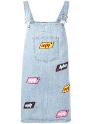 Au Jour Le Jour Dungaree Patch Dress Blue