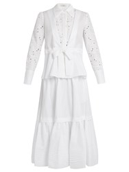 Erdem Janie Broderie Anglaise Panelled Cotton Shirt White