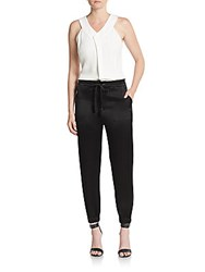 Derek Lam Sleeveless Combo Jumpsuit Black Cream
