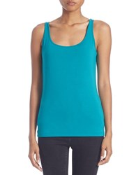 Lord And Taylor Stretch Roundneck Tank Turquoise