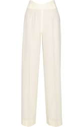 Agnona Wool Gabardine Wide Leg Pants