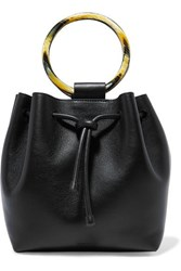 Theory Drawstring Leather Tote Black