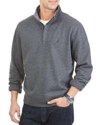 Nautica Quarter Zip Pullover Fleece Charcoal Heather