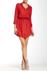 Glam Button Up Dress Red