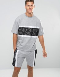 Asos Oversized Short Sleeve Sweatshirt With Lace Panel Gray