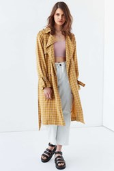 Urban Outfitters Uo Plaid Linen Trench Coat Mustard