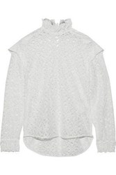 Sandro Coleta Ruffle Trimmed Corded Lace Blouse White