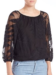Alice Olivia Alta Embroidered Silk Peasant Top Black