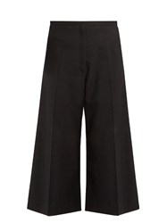 Christophe Lemaire Cropped Wide Leg Wool Trousers Black