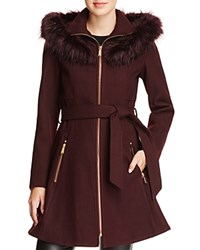 Laundry By Shelli Segal Faux Fur Trim Belted Fit And Flare Coat Plum