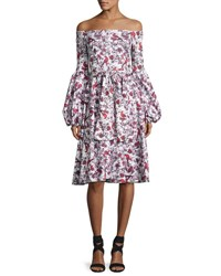 Caroline Constas Gisele Tea Length Toile Dress Red Pattern