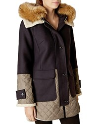 Karen Millen Faux Fur Collar Hooded Coat Navy