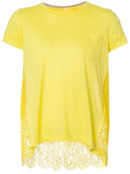 Sacai Floral Lace Tee Yellow Orange