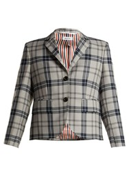 Thom Browne Tartan Wool Blend Blazer Grey Multi