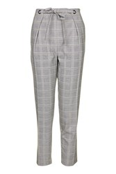 Topshop Check Eyelet Tie Peg Trousers Grey
