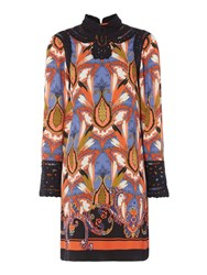 Biba Printed Battenburg Dress Multi Coloured Multi Coloured