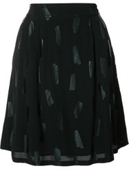 Just Female Tonal Print A Line Skirt Black