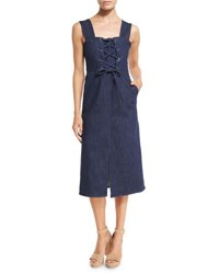See By Chloe Sleeveless Laced Stretch Denim Midi Dress Blue