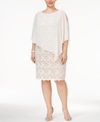 Connected Plus Size Overlay Lace Sheath Dress Ivory