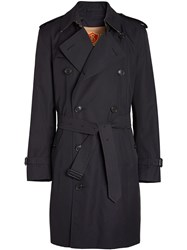 Burberry Cotton Gabardine Trench Coat With Warmer Blue