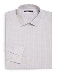 Theory Dover Checkered Dress Shirt Purple White