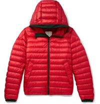 Moncler Morvan Slim Fit Quilted Shell Hooded Down Jacket Red
