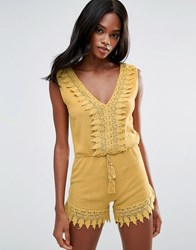 Mango Lace Cotton Playsuit Bright Yellow