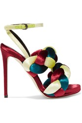 Marco De Vincenzo Braided Velvet Sandals Claret