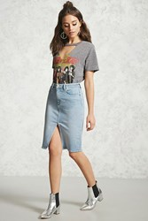 Forever 21 Front Slit Denim Skirt Light Denim