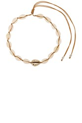 Joolz By Martha Calvo Single Gold Center Puka Choker Ivory