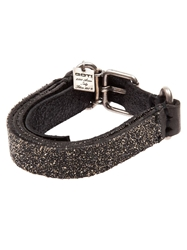 Goti Embellished Layered Leather Bracelet Black