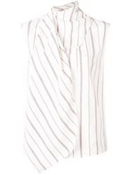 Joseph Wrap Style Striped Blouse White
