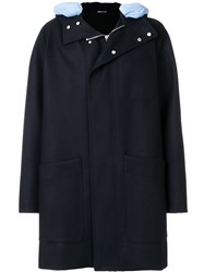 Cedric Charlier Contrast Hood Zipped Coat Polyamide Acetate Viscose Virgin Wool Blue