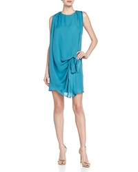 Halston Heritage Georgette Cinched Waist Dress Teal Blue