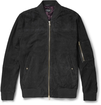 Paul Smith Perforated Suede Bomber Jacket Blue