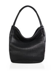 Christopher Kon Gunner Mini Woven Leather Hobo Bag Black