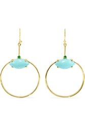 Ippolita Marquise Baby 18 Karat Gold Turquoise And Tsavorite Earrings Usd
