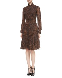 Derek Lam Tie Neck Leopard Print Chiffon Dress