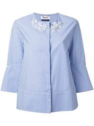 Muveil Collarless Striped Shirt Blue