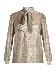 Saint Laurent Tie Neck Long Sleeved Blouse Gold Multi