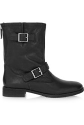 Dkny Breana Buckled Leather Boots Black