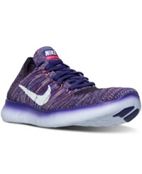 Nike Women's Free Rn Flyknit Running Sneakers From Finish Line Grand Purple White Bright
