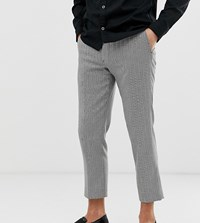 Noak Slim Fit Cropped Trouser In Black And White Herringbone Navy