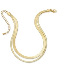 Thalia Sodi Gold Tone Double Herringbone Choker Necklace Only At Macy's