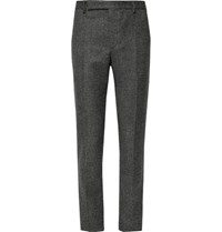 Saint Laurent Slim Fit Basketweave Wool Suit Trousers Black
