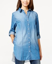 American Rag Lace Back High Low Denim Tunic Shirt Only At Macy's Linda Wash
