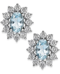 Macy's Aquamarine 1 1 3 Ct. T.W. And Diamond Accent Stud Earrings In 14K White Gold