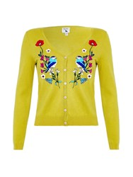 Yumi Floral Bird Embroidered Cardigan Yellow