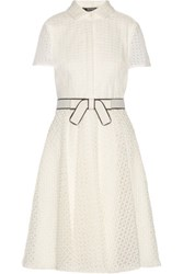 Badgley Mischka Broderie Anglaise Organza Dress White